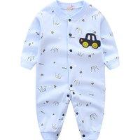 Baby Boy's Car Applique Crown Print Long Sleeves Jumpsuit