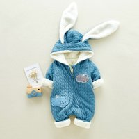 Adorable Ear Hooded Cloud Applique Long Sleeves Jumpsuit for Baby Girl