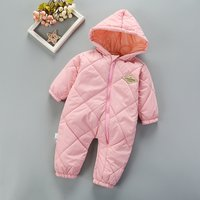 Warm Solid Long-sleeve Hooded Quilted Jumpsuit for Baby