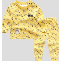 2-piece Lovely Horse Patterned Long-sleeve Top and Pants Set for Baby and Kid