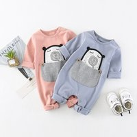 Cute Appliqued Animal in Pocket Solid Cotton Jumpsuit for 9-18 Months Baby