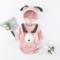 2-piece Lovely Dog Long-sleeve Bodysuit and Hat Set for Baby