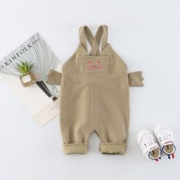 Cute Cat Embroidery Solid Overall for Baby