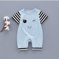 Super Cute Eyes Printed Striped Short-sleeve Romper for Babies