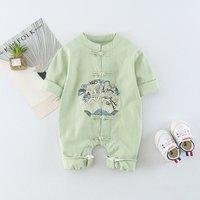 Stylish Cheongsam Long-sleeve Jumpsuit for Babies