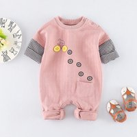 Super Cool Bicycle Print Long-sleeve Striped Jumpsuit for Babies