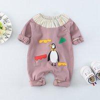 Baby's Penguin Pattern Stripe Contrast Jumpsuit