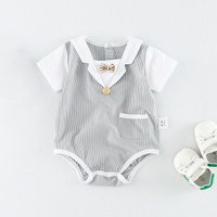 Lovely Color-blocking Bow Decor Bodysuit for Baby