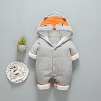 Warm Fox Embroidered 3D Ear Hooded Jumpsuit for Baby