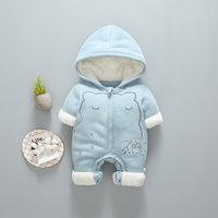 Warm Bear Fleece-lining Hooded Jumpsuit for Baby