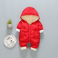 Warm Fleece-lining Solid Hooded Jumpsuit for Baby