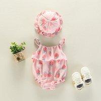 Lovely Strawberry Print Ruffled Strap Bodysuit and Hat Set for Baby Girl