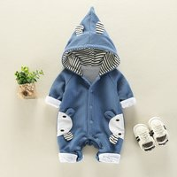 Cute Animal Design Long-sleeve Hooded Jumpsuit in Blue for Baby Boy