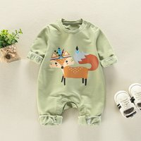 Stylish Fox Print Long-sleeve Jumpsuit for Baby