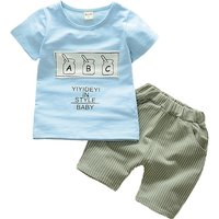 2-piece Baby Boy's Cool Short Sleeves Letter Tee and Stripes Shorts Set