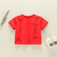 Trendy Letter Print Ripped Short-sleeve Tee for Baby Boy