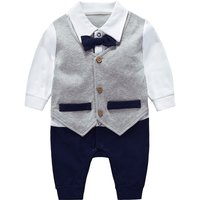 Faux-two Trendy Waistcoat Design Jumpsuit for 6-12 Months Baby Boy