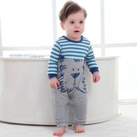 Baby and Newborn Lovely Striped Lion Cotton Jumpsuit