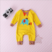 Elephant and  Hedgehog Patterned Long Sleeve Jumpsuit in Yellow for Baby