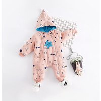 Cute Stars Embroidery Hooded Jumpsuit for Babies