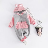 Lovely Appliqued Fox Long Sleeves Hooded Jumpsuit for Baby Unisex