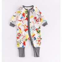 Colorful Floral Print Long-sleeve Cotton Jumpsuit for Baby