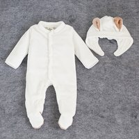 2-piece Solid Long-sleeve Plush Footie Jumpsuit and Hat for Baby