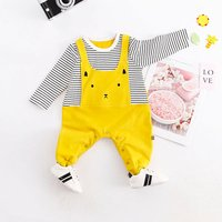 Adorable Cat Printed Faux-2 Long Sleeves Jumpsuit for Baby