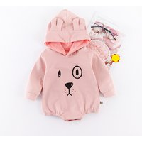 Lovely Solid Dog Print Hooded Long Sleeves Bodysuit for Baby