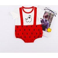 Cute Faux-2 Fruit Print Short-sleeve Bodysuit for Baby