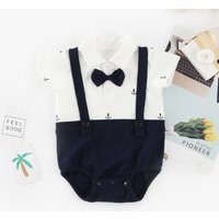 Baby Boy's Handsome Anchor Print Faux-two Bodysuit