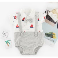 Baby's Handsome Faux-two Sailboat Print Short Sleeves Bodysuit