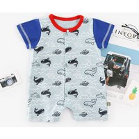 Adorable Whale Print Short-sleeve Jumpsuit for Baby Boy