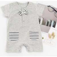 Handsome Bowtie Decor Short-sleeve Jumpsuit for Baby Boy