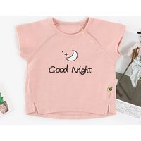 Comfy Short-sleeve Sun and Moon Print Top for Baby