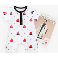 Stylish Ship Print Short-sleeve Romper in White for Baby Boy