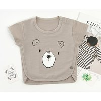 Baby's Solid Short-sleeve Cute Bear Print Top