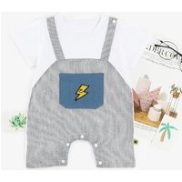 Stylish Faux-two Striped Smiley Strap Short-sleeve Romper in Grey for Baby Boy