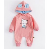 Lovely Cat Print Hooded Jumpsuit in Pink for Baby