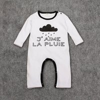 J'aime La Pluie Cloud Print Long-sleeve Jumpsuit for 0-9 Months Baby