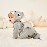 Cool Shark Design Long-sleeve Hooded Jumpsuit for Baby