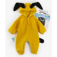 Cute Animal Design Long-sleeve Hooded Jumpsuit for Baby