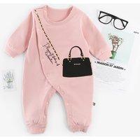 Lovely Shoulder Bag Print Long-sleeve Jumpsuit for Baby Girl