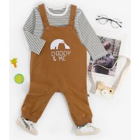 Baby's Sweet Animal Applique Overalls and Striped Top Set