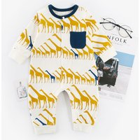Baby's Funny Giraffe Pattern Long-sleeve Jumpsuit