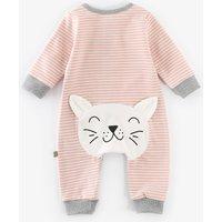 Lovely Striped Cat Design Long-sleeve Jumpsuit for Baby Girl