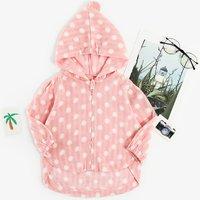 Toddler Girl's Polka Dots Hooded Lightweight Coat
