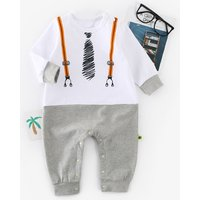 Faux-2 Handsome Tie Print Long-sleeve Jumpsuit for Baby Boy