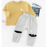 Fun Eyes Appliqued Long-sleeve Top and Pants Set for Baby Boy