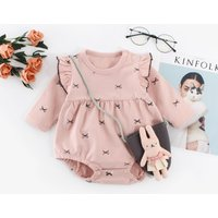 Sweet Bowknot Patterned Ruffled Long-sleeve Romper for Baby Girl